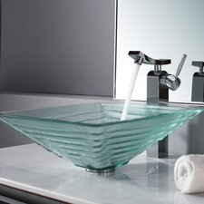 Bathroom Combos Alexandrite Glass Vessel Bathroom Sink with Single Handle Single Hole Faucet