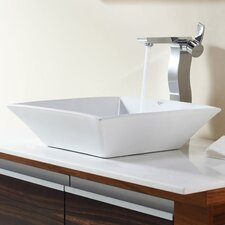 Bathroom Combos Square Ceramic Bathroom Sink with Single Handle Single Hole Faucet