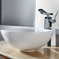 <strong>Kraus</strong> Bathroom Combos Round Ceramic Bathroom Sink with Single Handle Single Hole Faucet