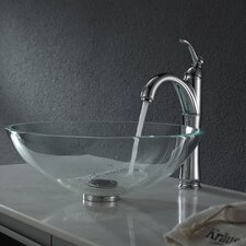 Crystal Clear Glass Vessel Sink with Pop Up Drain and Mounting Ring