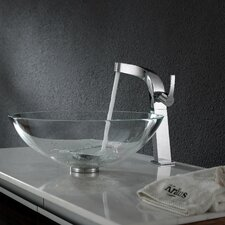 Crystal Clear Glass Vessel Sink and Typhon Faucet