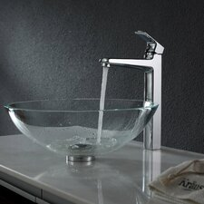 <strong>Kraus</strong> Crystal Clear Glass Vessel Sink and Virtus Faucet