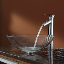 Crystal Clear Glass Vessel Sink and Decus Faucet