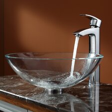 Crystal Clear Glass Vessel Sink and Visio Faucet