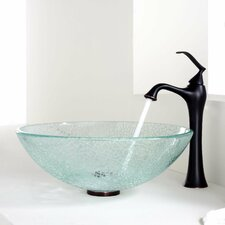 Broken Glass Vessel Bathroom Sink with Single Handle Single Hole Faucet