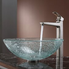 Virtus Broken Glass Vessel Bathroom Sink with Faucet