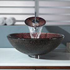 Callisto Glass Vessel Sink and Waterfall Faucet