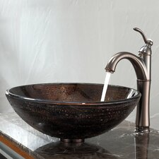 <strong>Kraus</strong> Copper Illusion Glass Vessel Bathroom Sink with Riviera Faucet