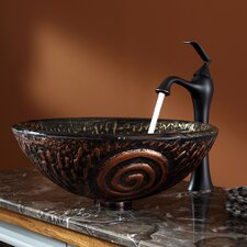 Luna Glass Vessel Sink and Ventus Faucet