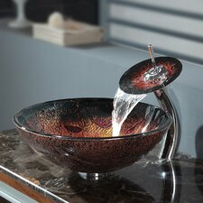 Lava Glass Vessel Sink and Waterfall Faucet