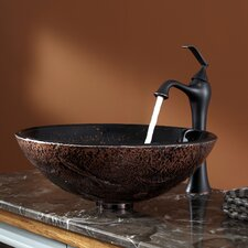 <strong>Kraus</strong> Lava Glass Vessel Sink and Ventus Faucet