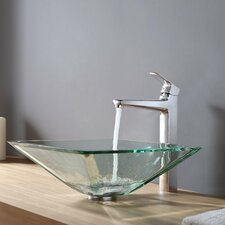 Virtus Aquamarine Glass Vessel Bathroom Sink with Faucet