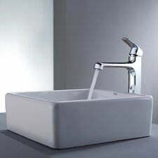<strong>Kraus</strong> Decorum Square Ceramic Bathroom Sink and Faucet