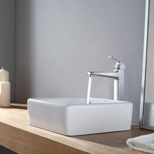 <strong>Kraus</strong> Virtus Square Ceramic Bathroom Sink with Faucet