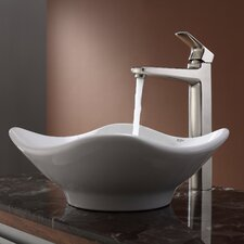 Virtus Tulip Ceramic Bathroom Sink with Faucet
