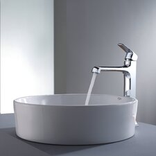 <strong>Kraus</strong> Decorum Round Ceramic Bathroom Sink and Faucet