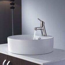 "18.5""  Round Ceramic Sink and Ferus Basin Faucet"