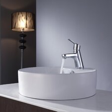 "<strong>Kraus</strong> 18.5""  Round Ceramic Sink and Ferus Basin Faucet"