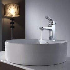<strong>Kraus</strong> Virtus Round Ceramic Bathroom Sink with Basin Faucet