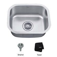 "18"" x 15"" 3 Piece Undermount Single Bowl Kitchen Sink"