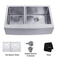 "32.9"" x 20.75"" 6 Piece Farmhouse 60/40 Double Bowl Kitchen Sink Set"