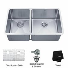 "32.75"" x 19"" 6 Piece Undermount 60/40 Double Bowl Kitchen Sink"
