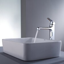 <strong>Kraus</strong> Decorum Rectangular Ceramic Bathroom Sink and Faucet