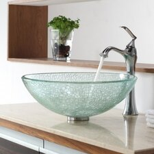 <strong>Kraus</strong> Broken Glass Vessel Bathroom Sink with Single Handle Single Hole Faucet