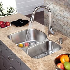 "31.5"" x 20.5"" Undermount Double Bowl Kitchen Sink and Faucet with Soap Dispenser"