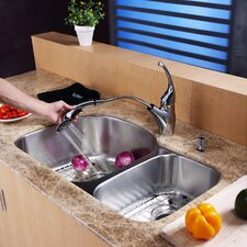 "31.5"" x 20.5"" x 9"" Undermount 70/30 Double Bowl Kitchen Sink with Faucet and Soap Dispenser"