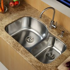 "<strong>Kraus</strong> 31.5"" x 20.5"" Undermount Double Bowl Kitchen Sink with Faucet and Soap Dispenser"