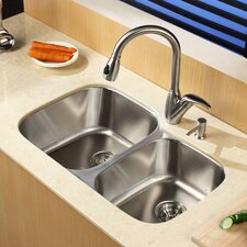 "32"" x 20.75"" Undermount Double Bowl Kitchen Sink with Faucet and Soap Dispenser"