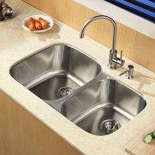 """32"""" x 20.75"""" Undermount Double Bowl Kitchen Sink with Single Lever Faucet and Soap Dispenser"""