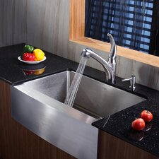 "29.75"" x 20"" Farmhouse Kitchen Sink with Faucet and Soap Dispenser"