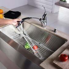 "30"" x 16"" Farmhouse Kitchen Sink with Faucet and Soap Dispenser"