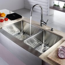 "<strong>Kraus</strong> 32.88"" x 20.75"" Double Bowl Farmhouse Kitchen Sink with Faucet and Soap Dispenser"