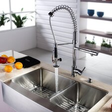 "<strong>Kraus</strong> 32.9"" x 20.75"" Farmhouse Kitchen Sink with Faucet and Soap Dispenser"