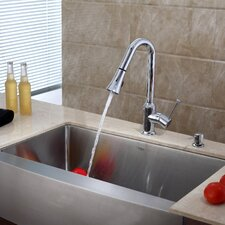 "35.9"" x 20.75"" x 10"" Farmhouse Kitchen Sink with Faucet and Soap Dispenser"