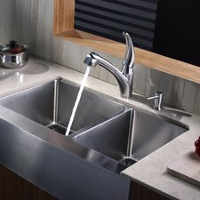 "<strong>Kraus</strong> 32.88"" x 20.75"" Farmhouse Double Bowl Kitchen Sink"