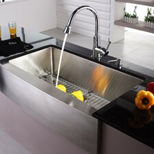 "33"" x 16"" Farmhouse Kitchen Sink with Faucet and Soap Dispenser"
