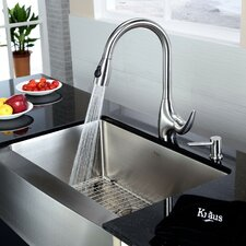 "29.75"" x 20"" 8 Piece Farmhouse Kitchen Sink Set"