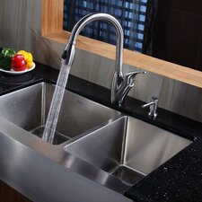 "<strong>Kraus</strong> 35.875"" x 20.75"" Farmhouse Double Bowl Kitchen Sink with Faucet and Soap Dispenser"