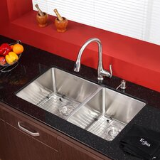 "32.75"" x 19"" 8 Piece Undermount Double Bowl Kitchen Sink Set"