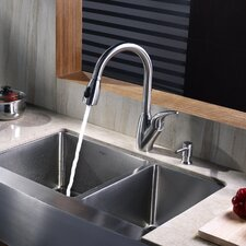 "<strong>Kraus</strong> 32.88"" x 20.75"" Farmhouse Double Bowl Kitchen Sink with Faucet and Soap Dispenser"