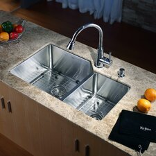 "32"" x 20"" x 10"" Undermount 70/30 Kitchen Sink with Faucet and Soap Dispenser"