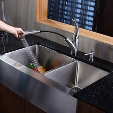 "<strong>Kraus</strong> 35.88"" x 20.75"" Farmhouse Double Bowl Kitchen Sink with Faucet and Soap Dispenser"