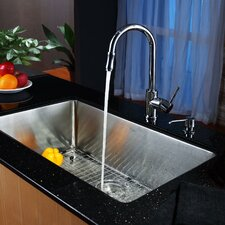 "<strong>Kraus</strong> 30"" x 18"" Undermount Single Bowl Kitchen Sink with Faucet and Soap Dispenser"