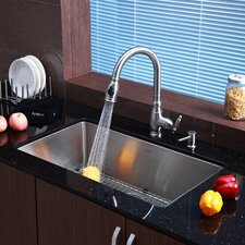 "Stainless Steel 32"" x 19"" Undermount Single Bowl Kitchen Sink with Faucet and Soap Dispenser"