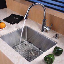 "21"" x 16"" Undermount Single Bowl Kitchen Sink with Faucet and Soap Dispenser"