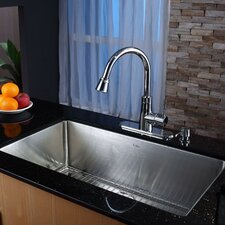"<strong>Kraus</strong> 32"" x 19"" Undermount Single Bowl Kitchen Sink with Faucet and Soap Dispenser"